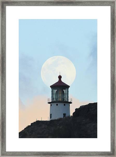 Full Moon Over Makapu'u Light Framed Print