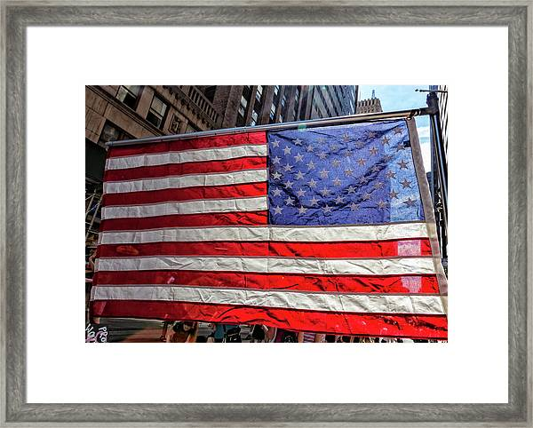 Gay Pride 2017 Nyc American Flag Framed Print by Robert Ullmann