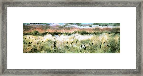 Geese In Grass Framed Print