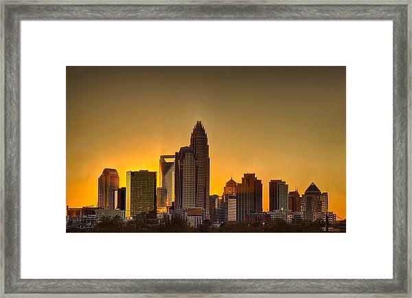 Golden Charlotte Skyline Framed Print