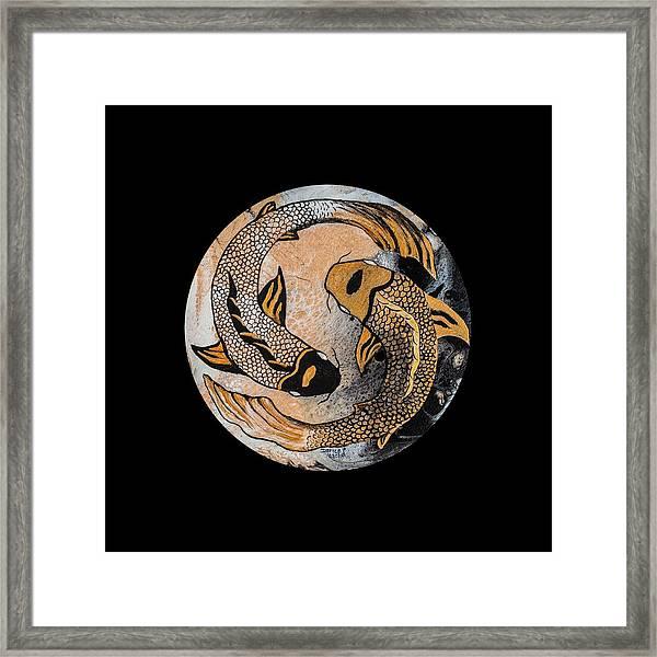 Golden Yin And Yang Framed Print