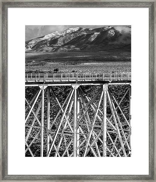 Framed Print featuring the photograph Gorge Bridge Black And White by Britt Runyon