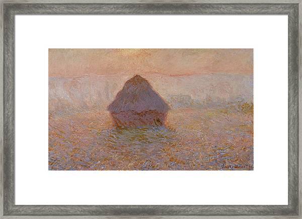 Grainstack, Sun In The Mist 1891 Framed Print