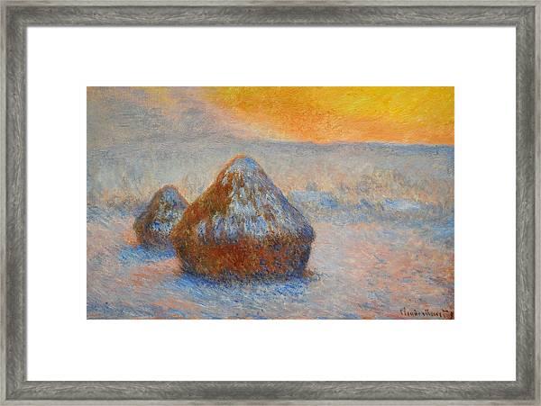 Grainstacks At Sunset, Snow Effect, 1891 Framed Print