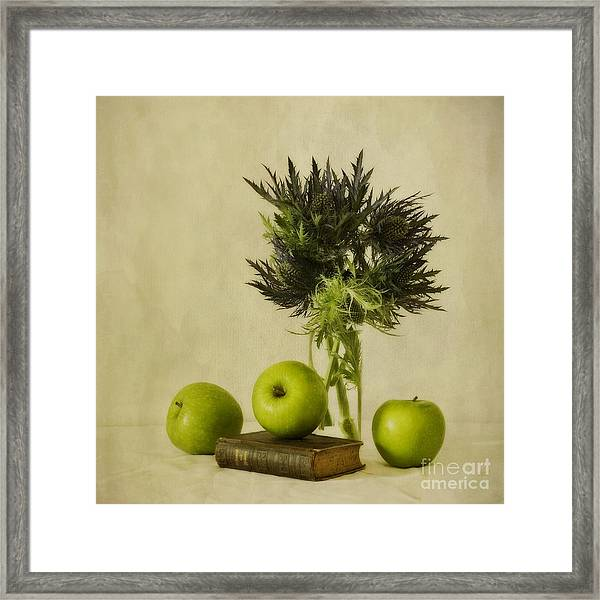Green Apples And Blue Thistles Framed Print