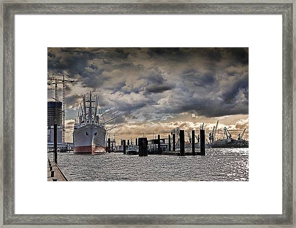 Hamburg Harbor Framed Print
