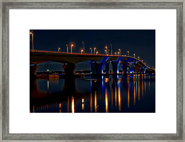Hathaway Bridge At Night Framed Print