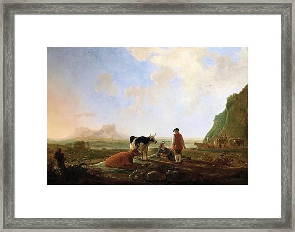 Herdsmen With Cows Framed Print