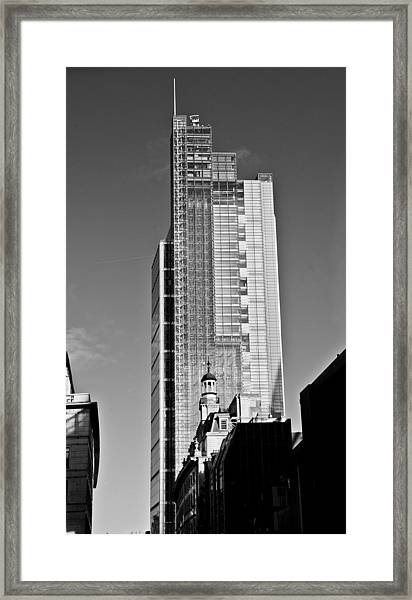 Heron Tower London Black And White Framed Print