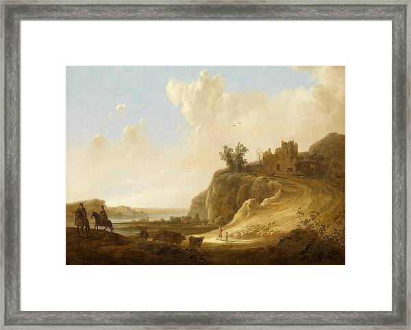 Hilly Landscape With The Ruins Of A Castle Framed Print