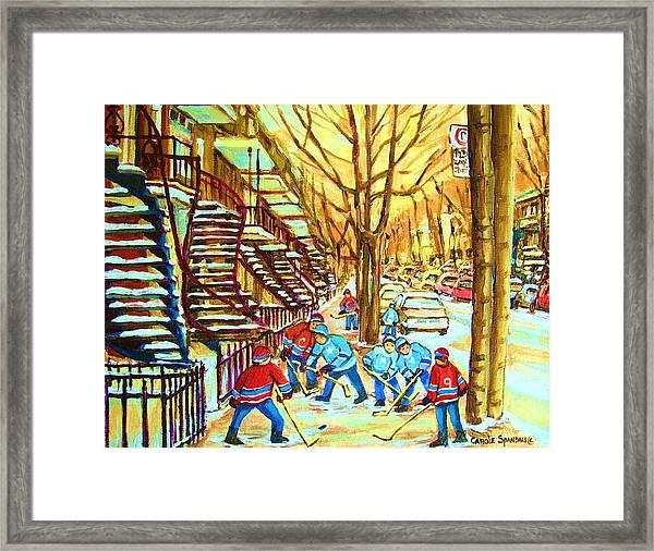 Hockey Game Near Winding Staircases Framed Print