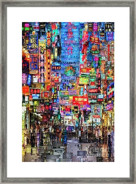 Hong Kong City Nightlife Framed Print