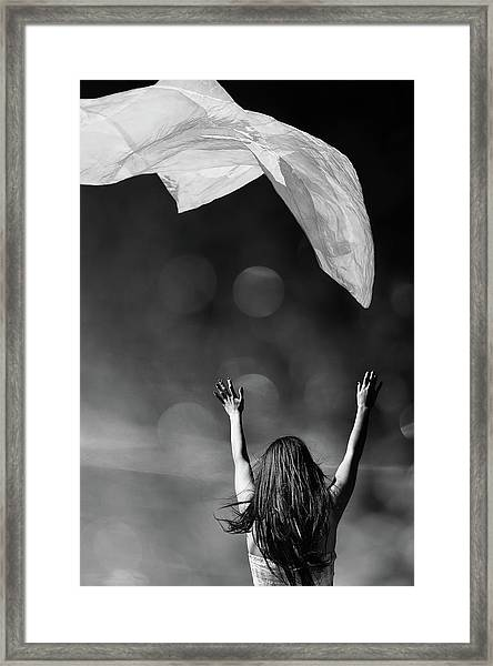Into The Atmosphere - Black And White Framed Print