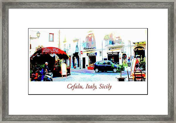 Italian City Street Scene Digital Art Framed Print