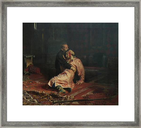 Ivan The Terrible And His Son Ivan On November 16, 1581 Framed Print by Ilya Repin
