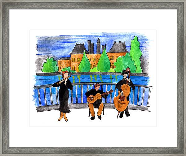 Jazz Trio On Pont Ile Saint Louis Framed Print