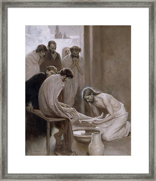 Jesus Washing The Feet Of His Disciples Framed Print
