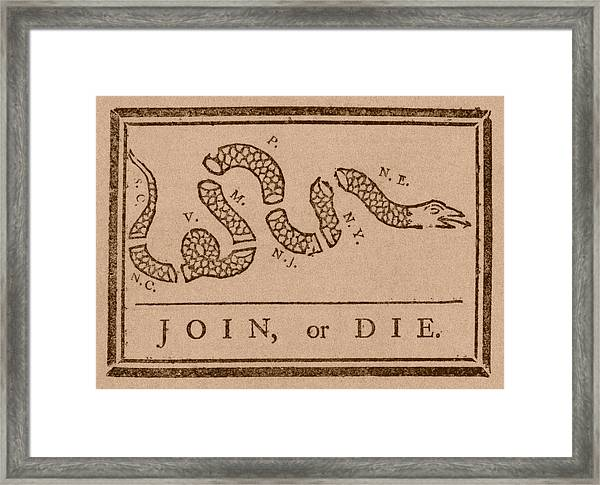 Join Or Die Framed Print