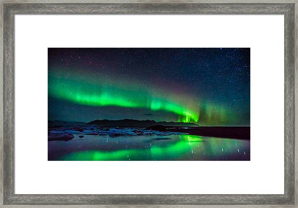 Jokulsarlon Aurora Framed Print