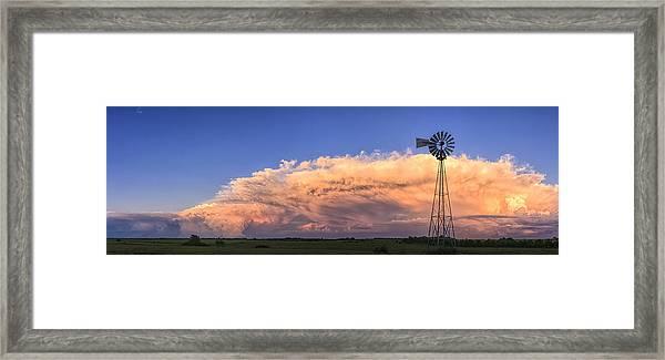Kansas Storm And Windmill Framed Print