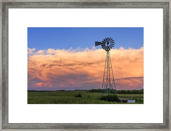 Kansas Windmill And Storm Framed Print