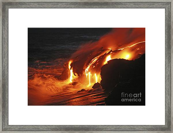 Kilauea Lava Flow Sea Entry, Big Framed Print