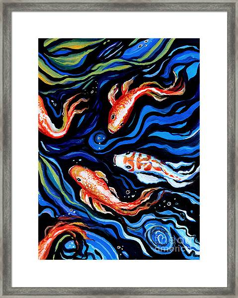 Koi Fish In Ribbons Of Water Framed Print