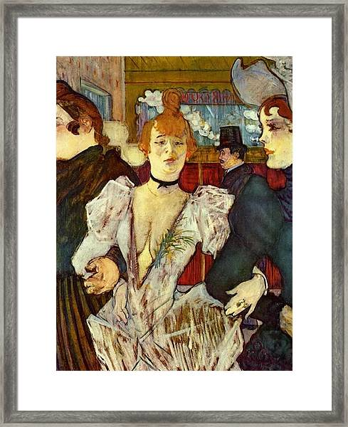 La Goulue Arriving At The Moulin Rouge With Two Women Framed Print