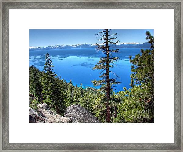 Lake Tahoe From Flume Trail Over Sand Harbor State Park Framed Print