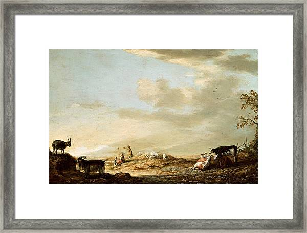 Landscape With Cattle And Figures Framed Print