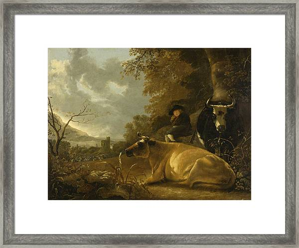 Landscape With Cows And A Shepherd Boy Framed Print