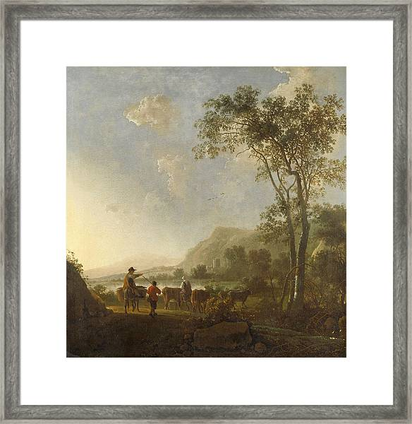 Landscape With Herdsmen And Cattle Framed Print