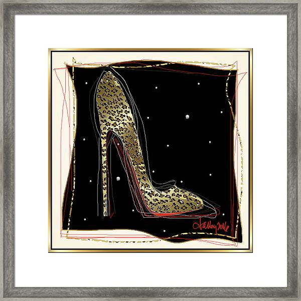 Framed Print featuring the mixed media Leopard Louboutin by Larry Talley