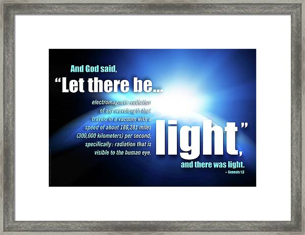 Framed Print featuring the digital art Let There Be Light by Shevon Johnson