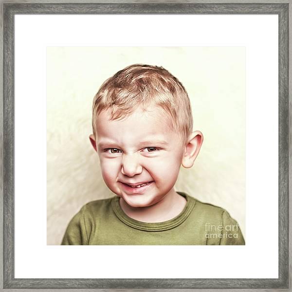 Little Child Portrait Framed Print by Gualtiero Boffi