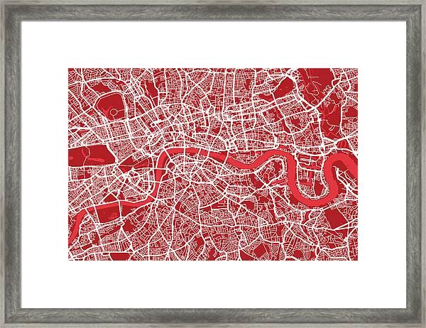 London Map Art Red Framed Print