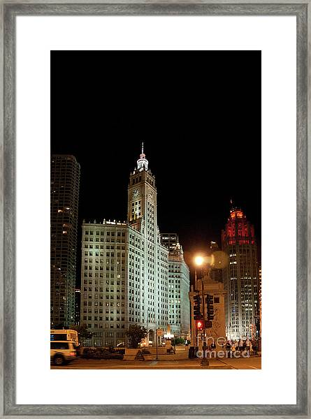 Looking North On Michigan Avenue At Wrigley Building Framed Print