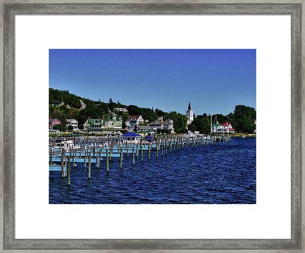 Mackinac By The Docks Framed Print