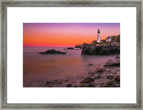 Framed Print featuring the photograph Maine Portland Headlight Lighthouse At Sunset by Ranjay Mitra