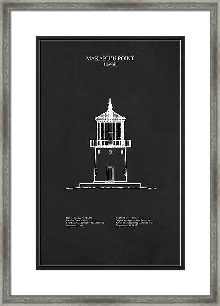 Makapuu Point Lighthouse - Hawaii - Blueprint Drawing Framed Print