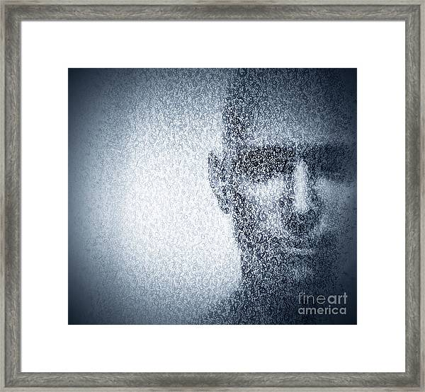 Man Face Blended With Binary Code Digits. Concept Of Hacker, Data Protection Etc. Framed Print