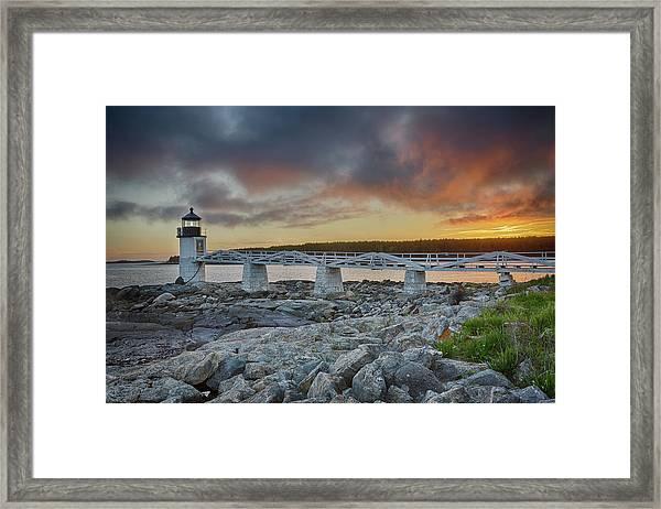 Marshall Point Lighthouse At Sunset, Maine, Usa Framed Print