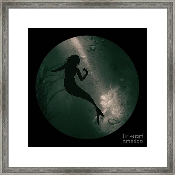 Mermaid Deep Underwater Framed Print