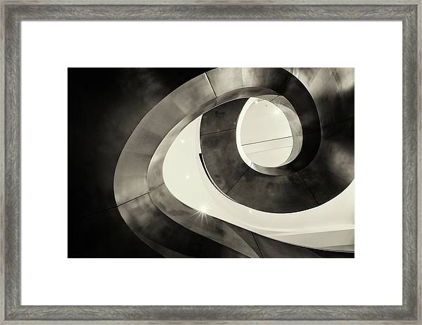 Abstract Metal Spiral Staircase Framed Print