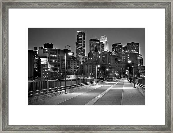 Minneapolis Skyline From Stone Arch Bridge Framed Print