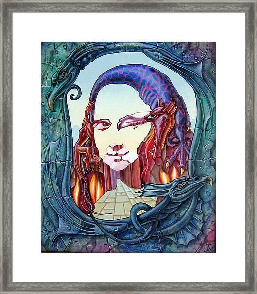 Mona Lisa. Fire Framed Print