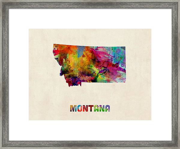 Montana Watercolor Map Framed Print