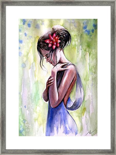 Framed Print featuring the painting Mood 3 by Katerina Kovatcheva