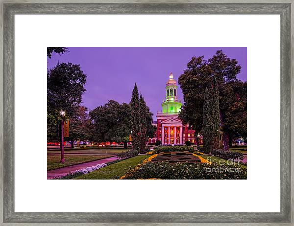 Morning Twilight Shot Of Pat Neff Hall From Founders Mall At Baylor University - Waco Central Texas Framed Print
