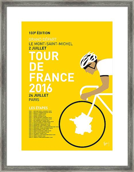 My Tour De France Minimal Poster 2016 Framed Print